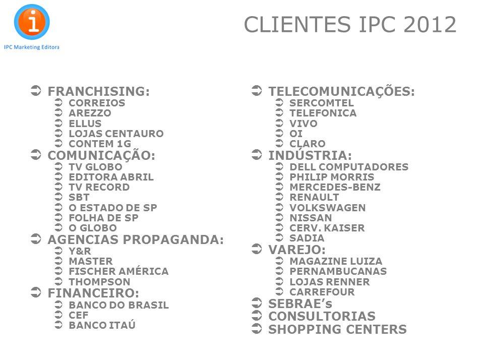 CLIENTES IPC 2012 FRANCHISING: COMUNICAÇÃO: AGENCIAS PROPAGANDA: