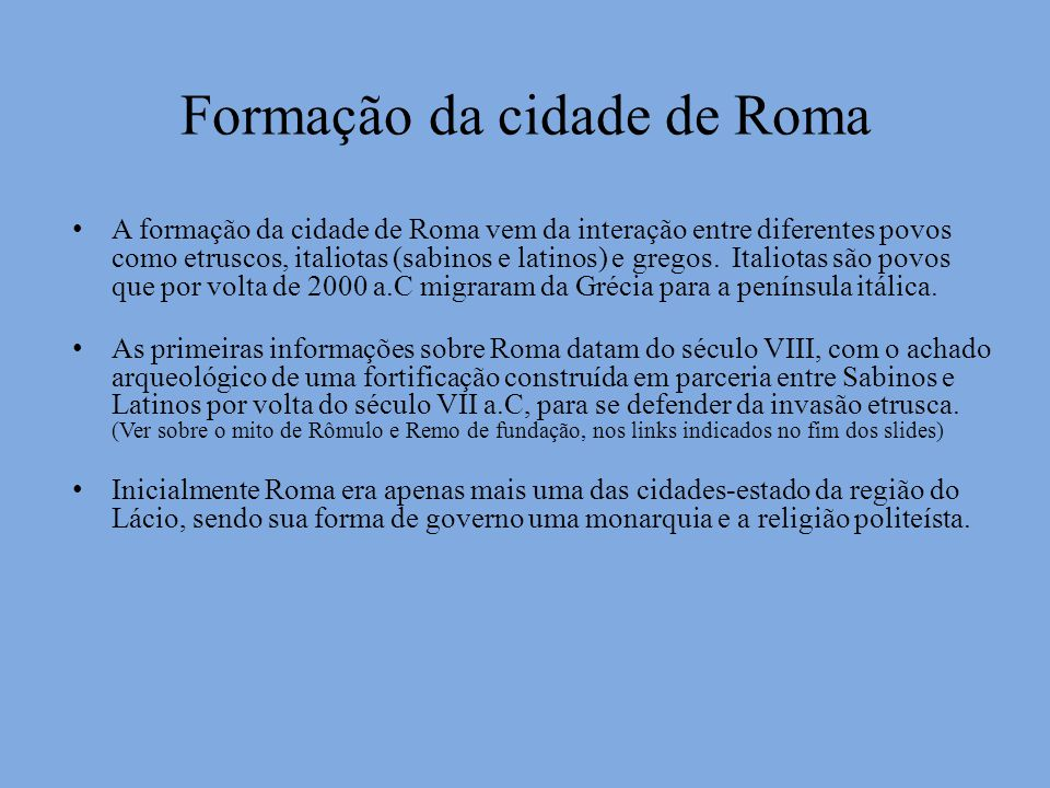 Formação da cidade de Roma