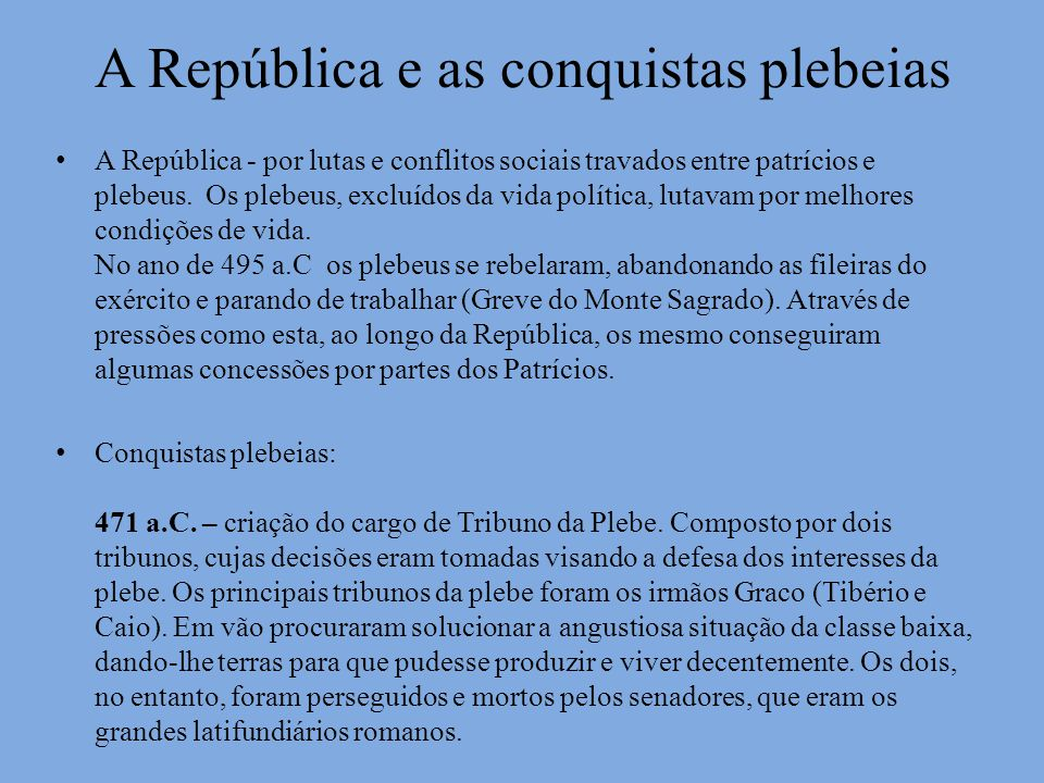 A República e as conquistas plebeias
