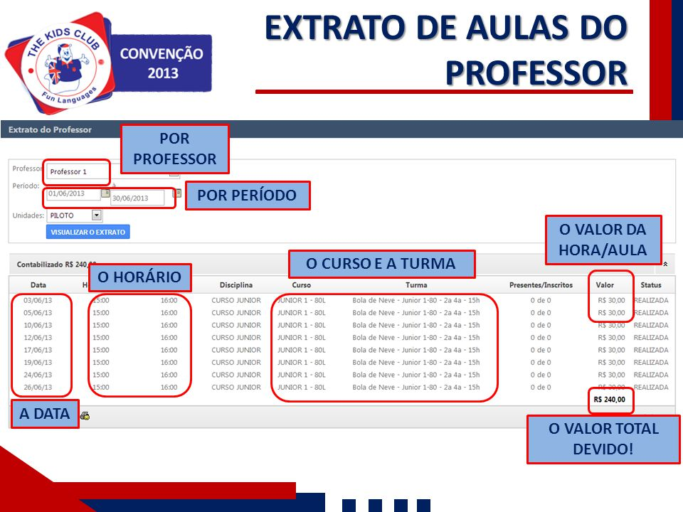 EXTRATO DE AULAS DO PROFESSOR