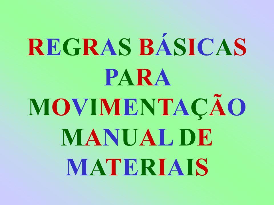 REGRAS BÁSICAS PARA MOVIMENTAÇÃO MANUAL DE MATERIAIS