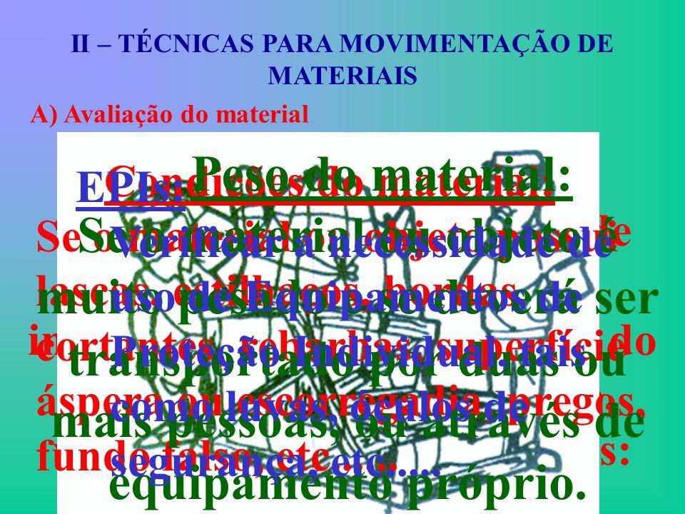 II – TÉCNICAS PARA MOVIMENTAÇÃO DE MATERIAIS