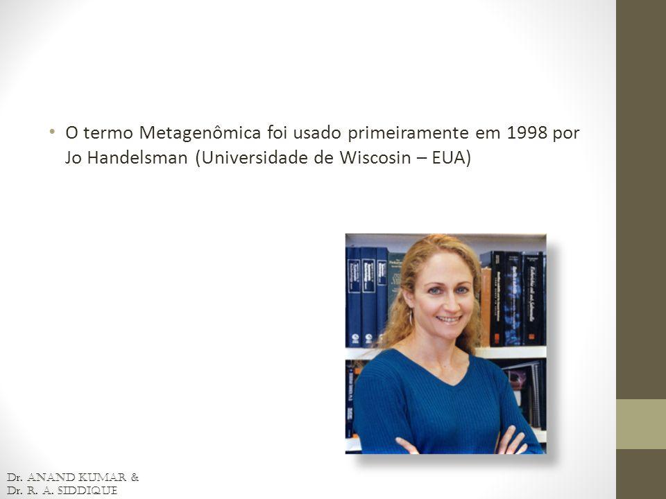 O termo Metagenômica foi usado primeiramente em 1998 por Jo Handelsman (Universidade de Wiscosin – EUA)