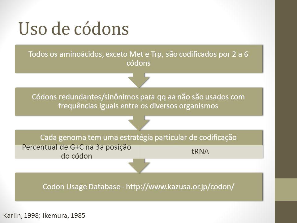 Uso de códons Todos os aminoácidos, exceto Met e Trp, são codificados por 2 a 6 códons.