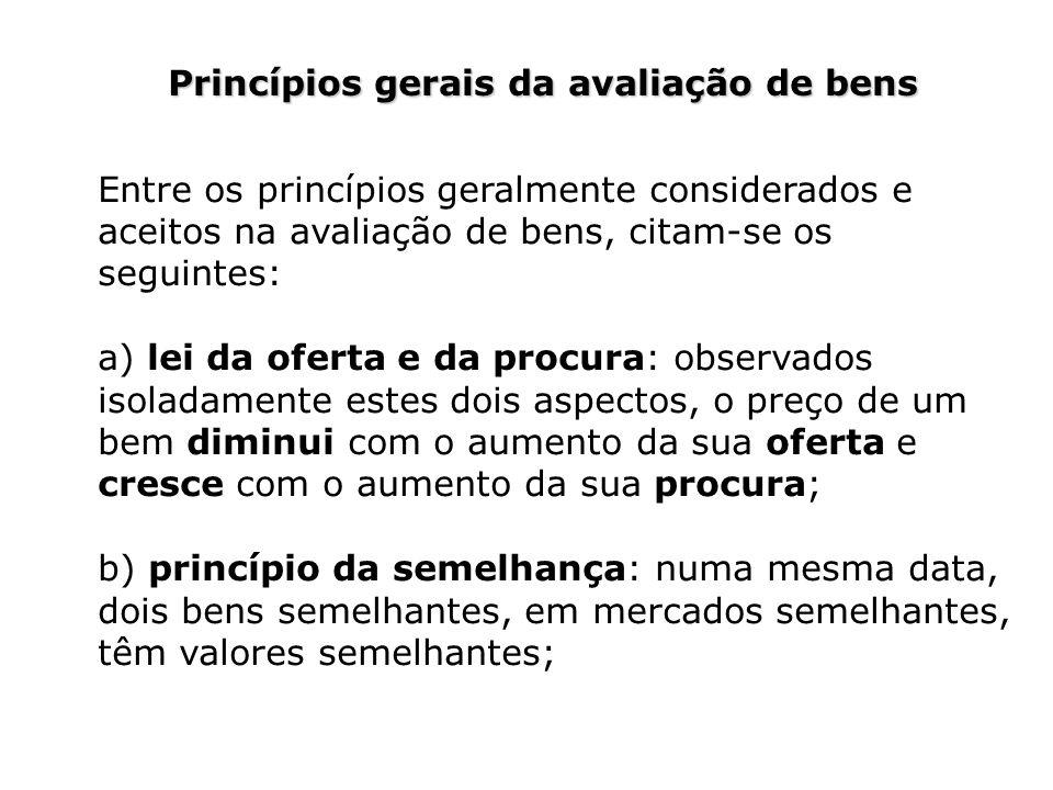 Princípios gerais da avaliação de bens