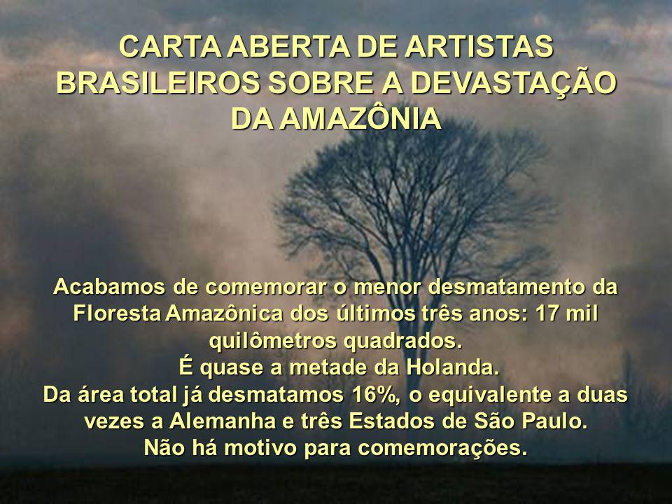 CARTA ABERTA DE ARTISTAS BRASILEIROS SOBRE A DEVASTAÇÃO DA AMAZÔNIA