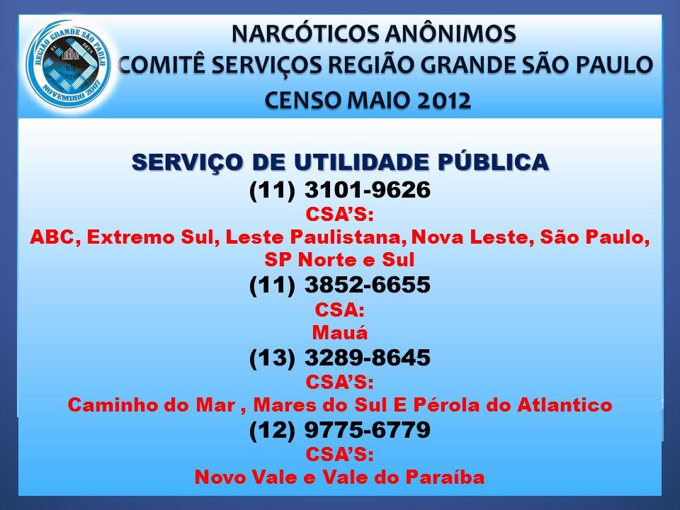 COMITÊ SERVIÇOS REGIÃO GRANDE SÃO PAULO SERVIÇO DE UTILIDADE PÚBLICA