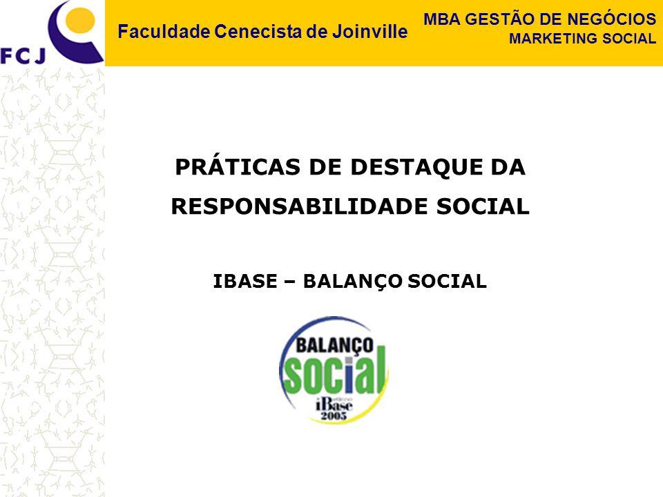 PRÁTICAS DE DESTAQUE DA RESPONSABILIDADE SOCIAL