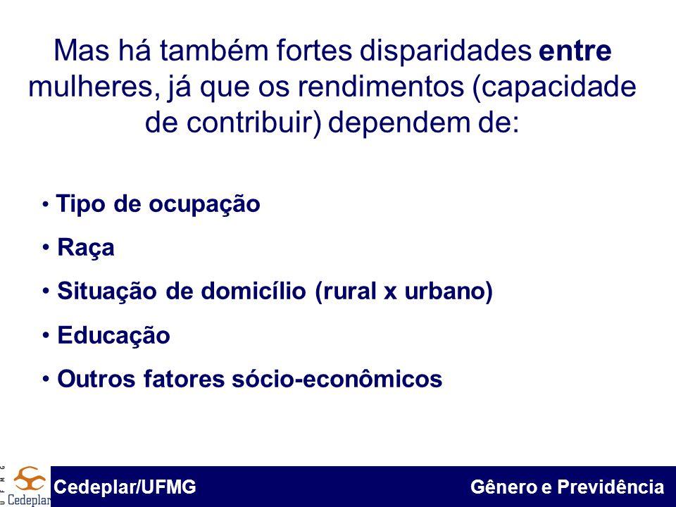 Mas há também fortes disparidades entre mulheres, já que os rendimentos (capacidade de contribuir) dependem de: