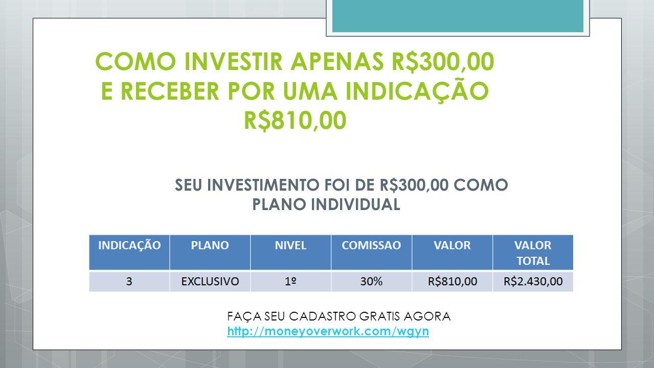 COMO INVESTIR APENAS R$300,00 E RECEBER POR UMA INDICAÇÃO R$810,00