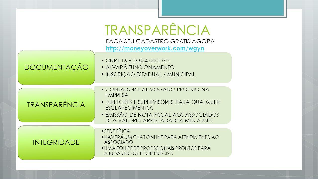 TRANSPARÊNCIA DOCUMENTAÇÃO TRANSPARÊNCIA INTEGRIDADE
