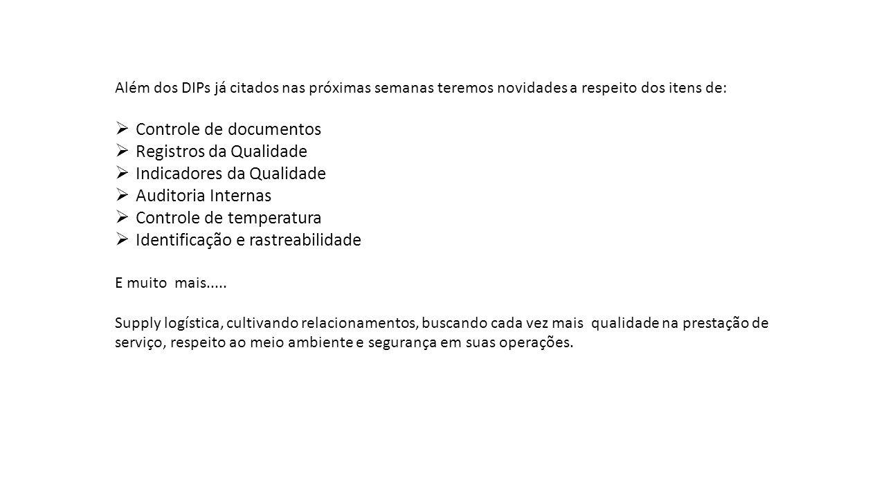 Controle de documentos Registros da Qualidade Indicadores da Qualidade