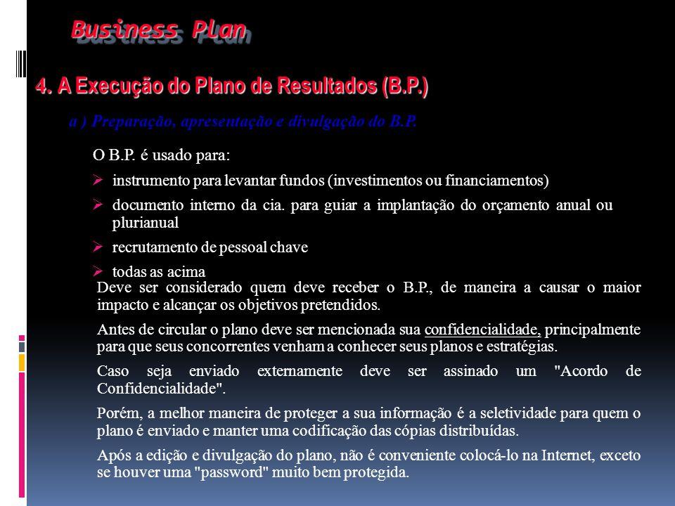 Business Plan 4. A Execução do Plano de Resultados (B.P.)