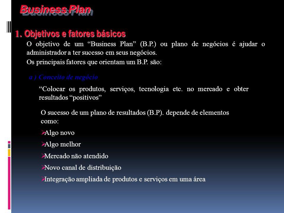 Business Plan 1. Objetivos e fatores básicos