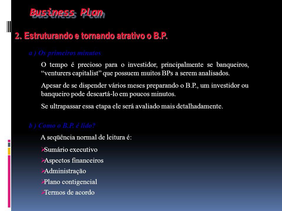 Business Plan 2. Estruturando e tornando atrativo o B.P.