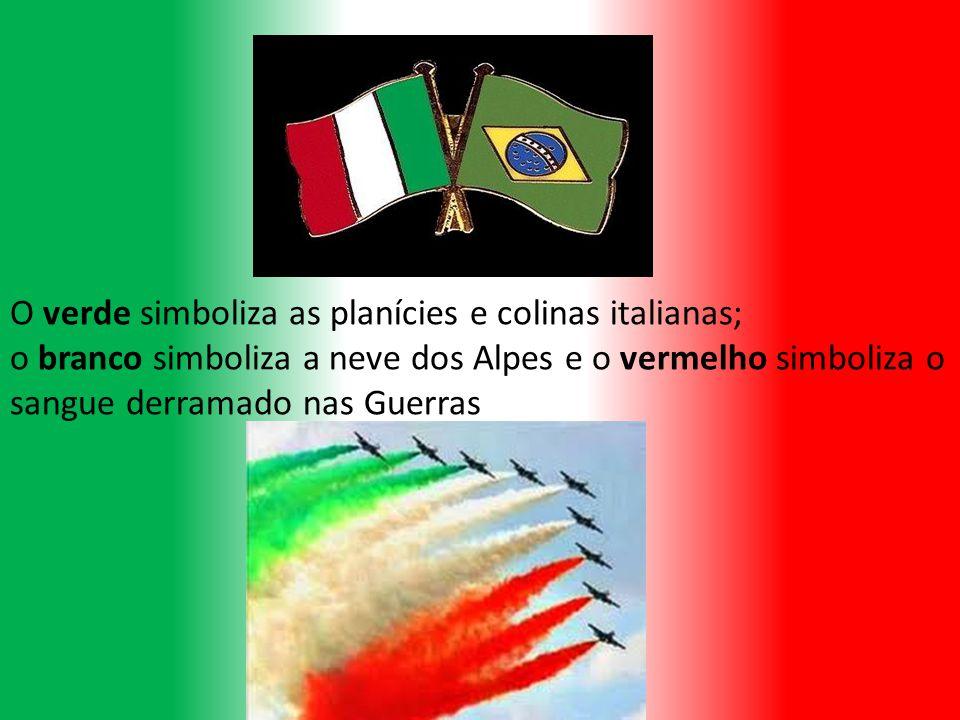 O verde simboliza as planícies e colinas italianas; o branco simboliza a neve dos Alpes e o vermelho simboliza o sangue derramado nas Guerras