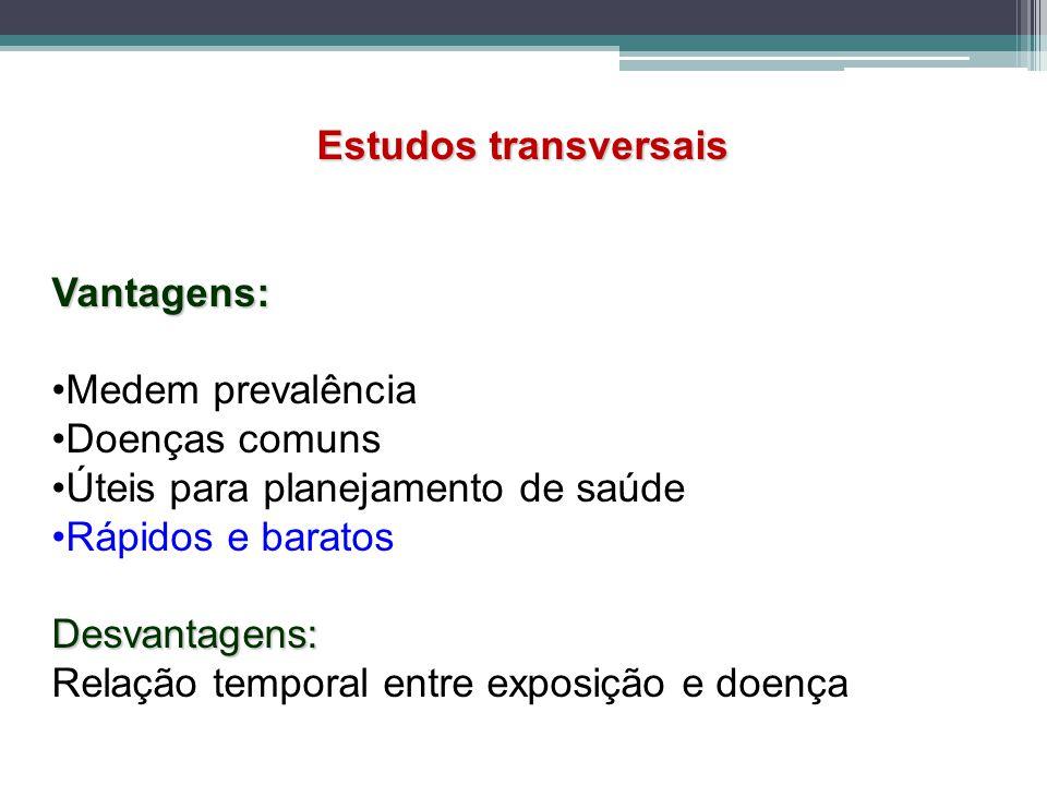 Estudos transversais Vantagens: Medem prevalência. Doenças comuns. •Úteis para planejamento de saúde.