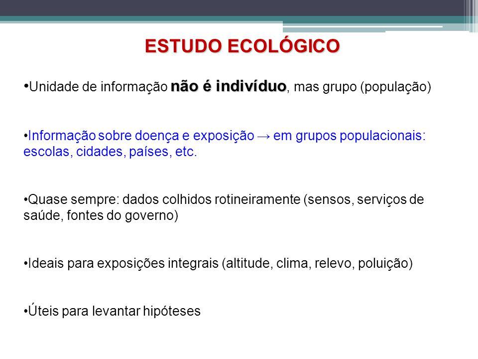 ESTUDO ECOLÓGICO •Unidade de informação não é indivíduo, mas grupo (população)