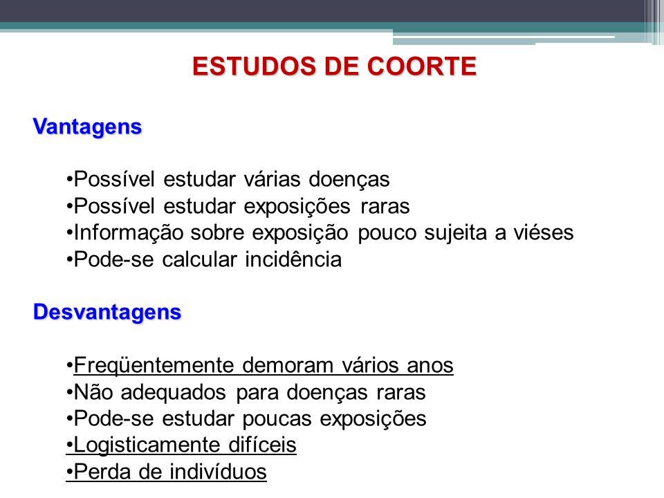 ESTUDOS DE COORTE Vantagens •Possível estudar várias doenças