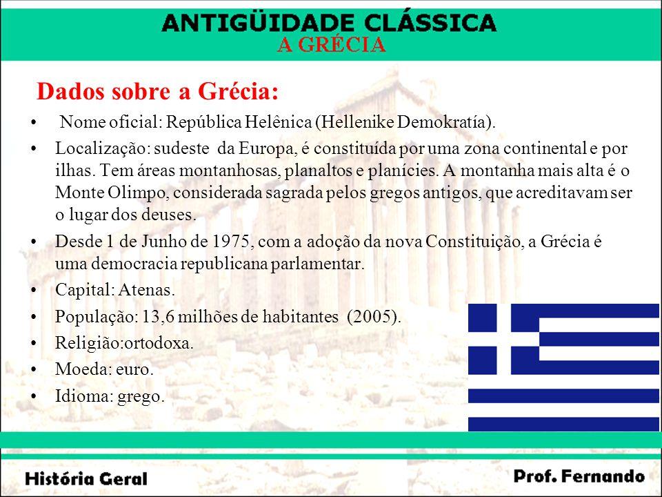 Dados sobre a Grécia: Nome oficial: República Helênica (Hellenike Demokratía).