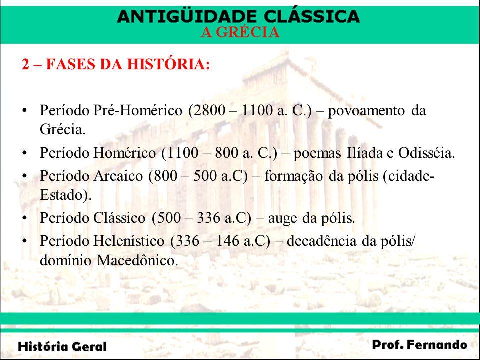 2 – FASES DA HISTÓRIA: Período Pré-Homérico (2800 – 1100 a. C.) – povoamento da Grécia.