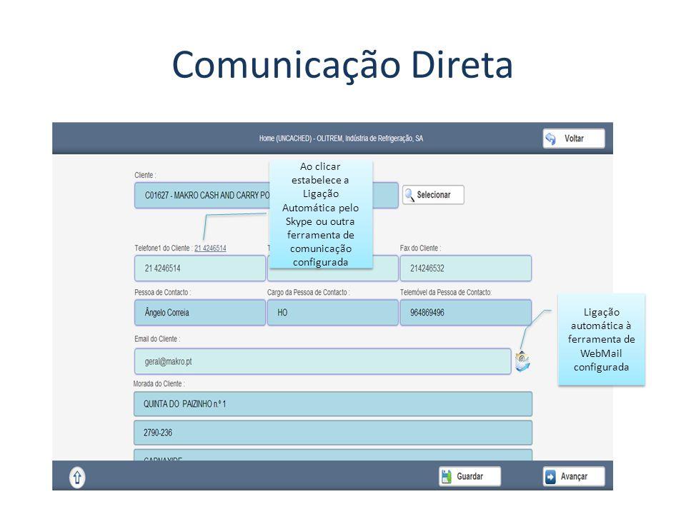 Ligação automática à ferramenta de WebMail configurada