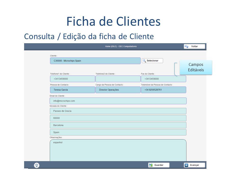 Ficha de Clientes Consulta / Edição da ficha de Cliente