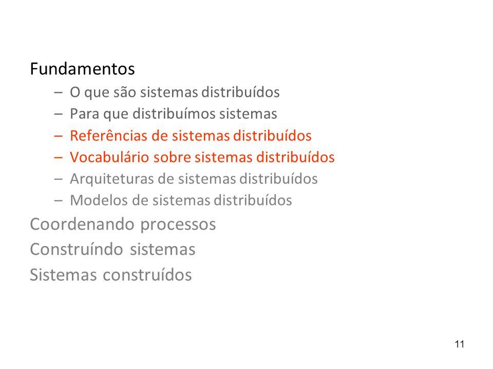 Coordenando processos Construíndo sistemas Sistemas construídos
