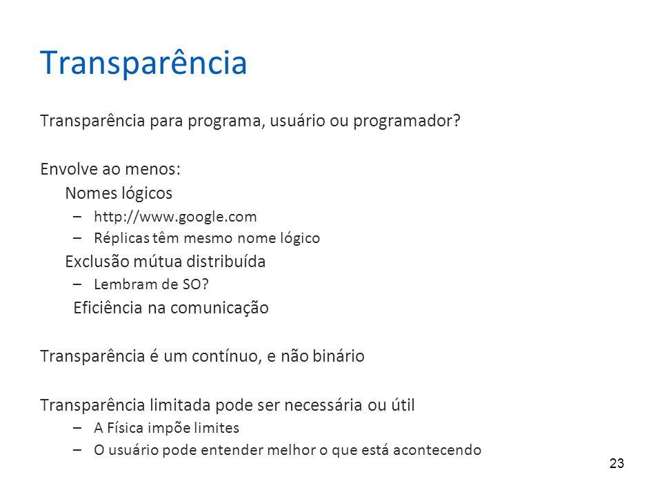 Transparência Transparência para programa, usuário ou programador