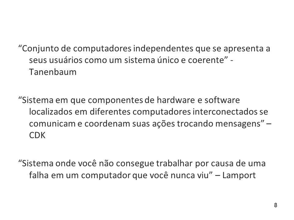 Conjunto de computadores independentes que se apresenta a seus usuários como um sistema único e coerente -Tanenbaum