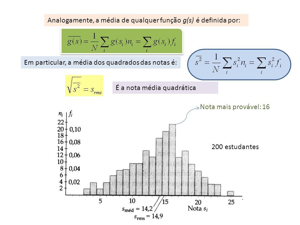 Analogamente, a média de qualquer função g(s) é definida por: