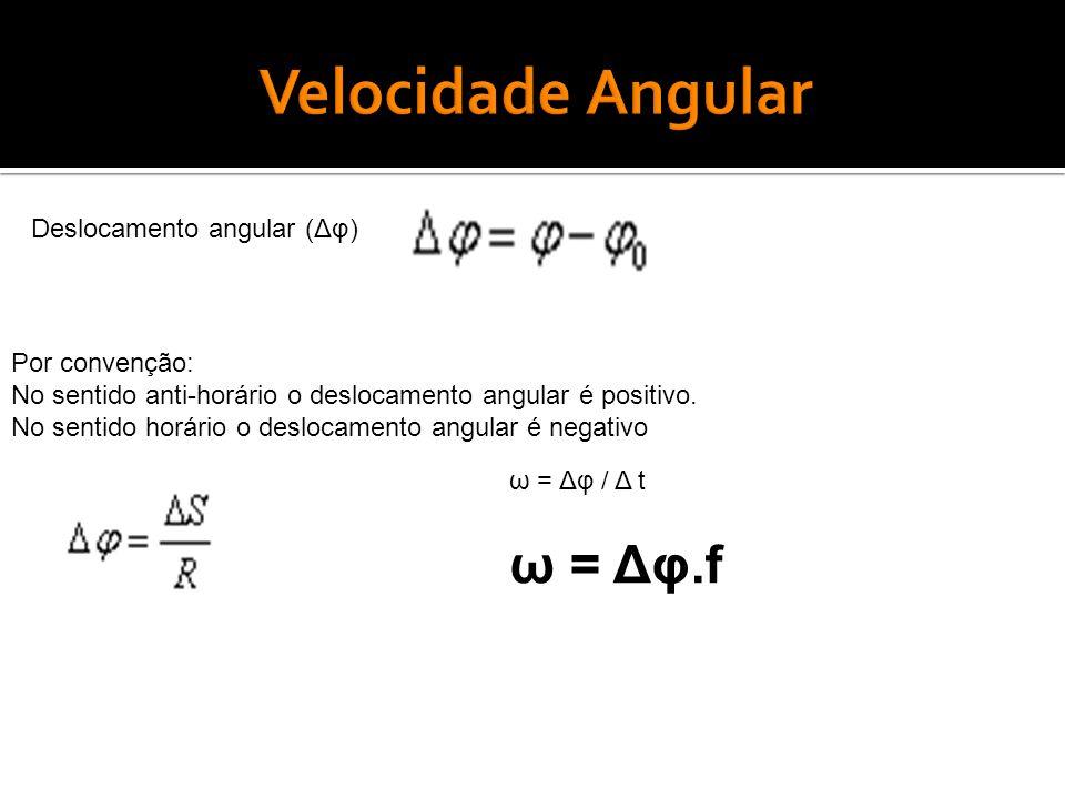 Velocidade Angular ω = Δφ.f Deslocamento angular (Δφ) Por convenção: