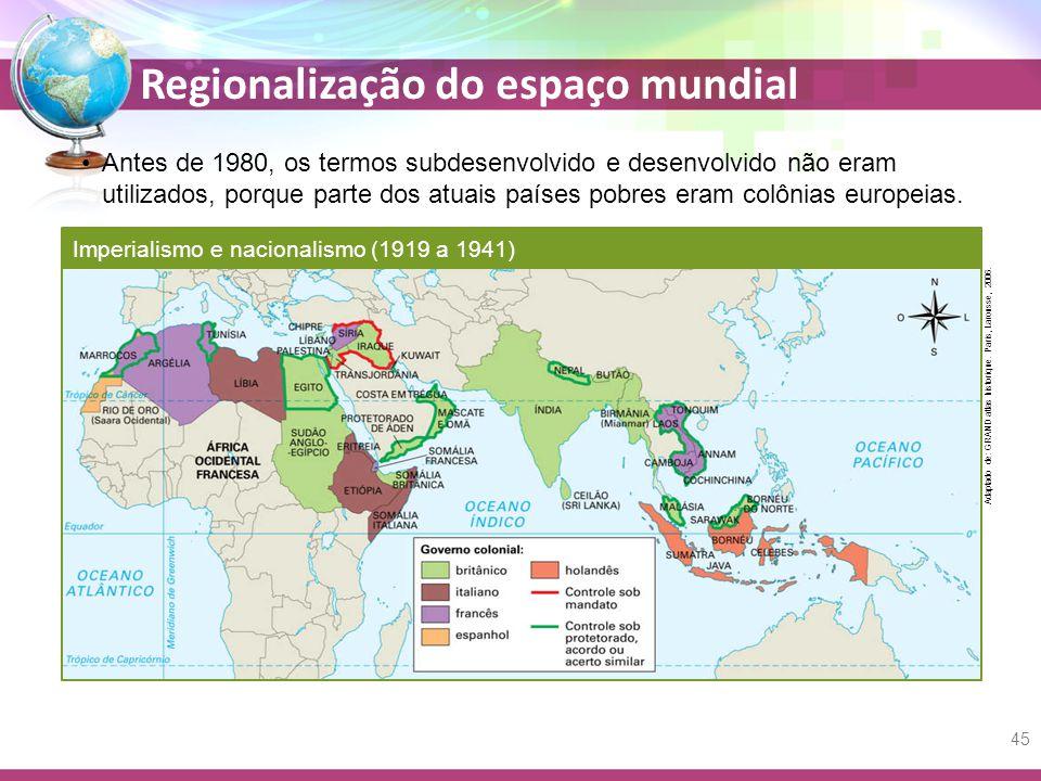 Antes de 1980, os termos subdesenvolvido e desenvolvido não eram utilizados, porque parte dos atuais países pobres eram colônias europeias.