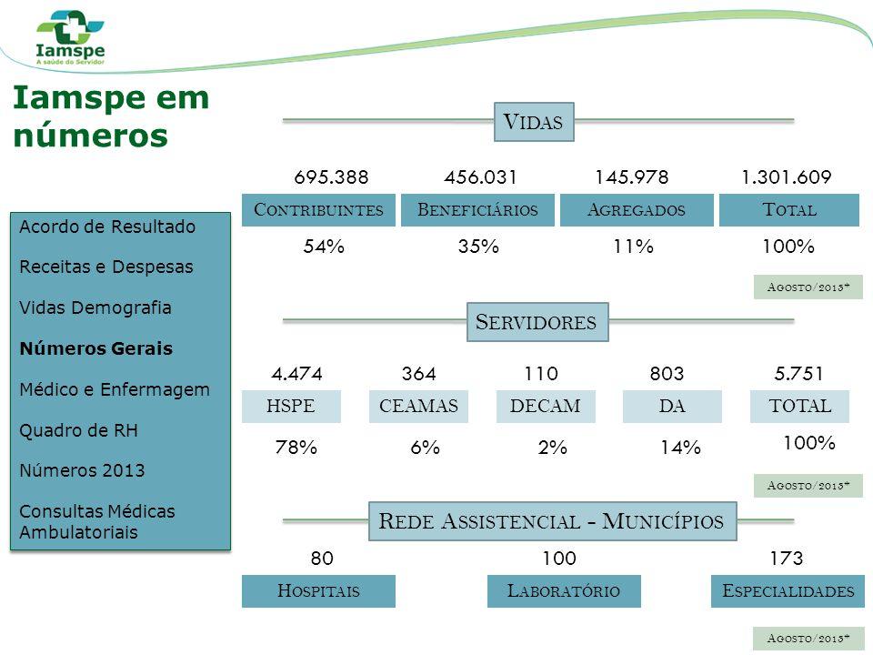 Iamspe em números Vidas Servidores Rede Assistencial - Municípios