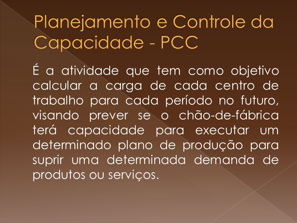 Planejamento e Controle da Capacidade - PCC