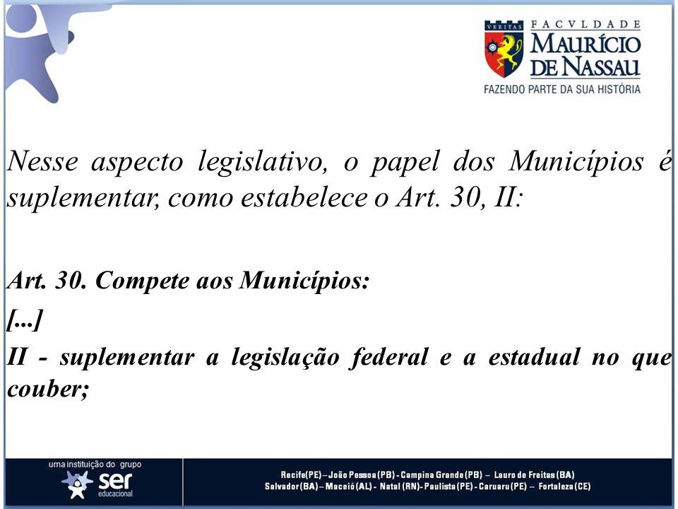 Nesse aspecto legislativo, o papel dos Municípios é suplementar, como estabelece o Art. 30, II: