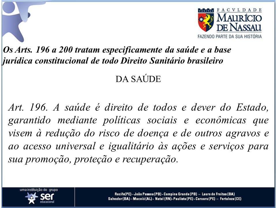 Os Arts. 196 a 200 tratam especificamente da saúde e a base jurídica constitucional de todo Direito Sanitário brasileiro