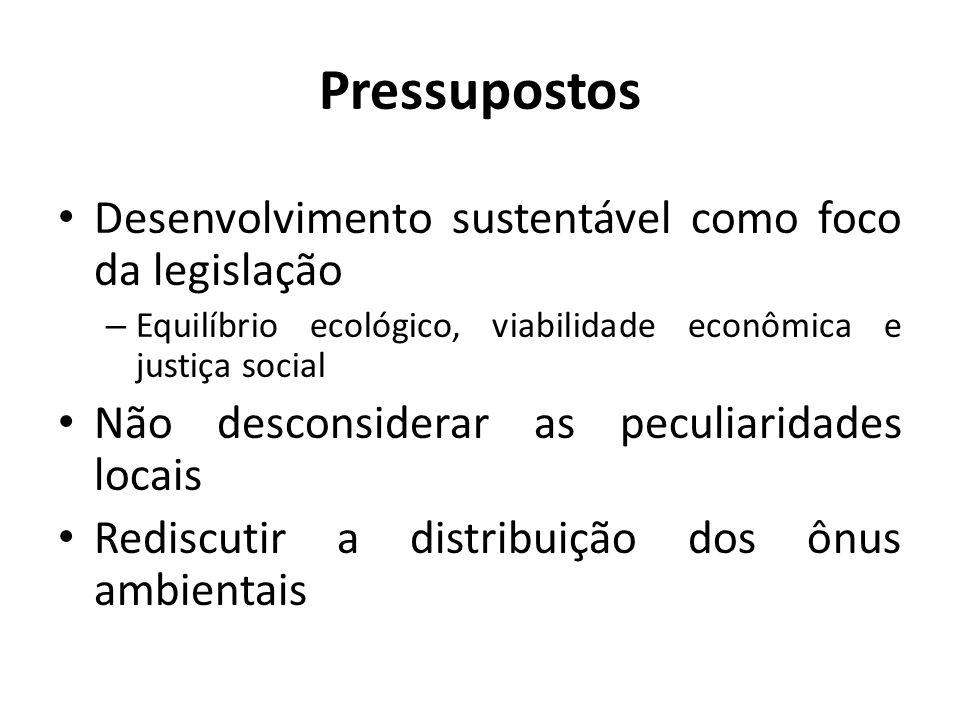 Pressupostos Desenvolvimento sustentável como foco da legislação