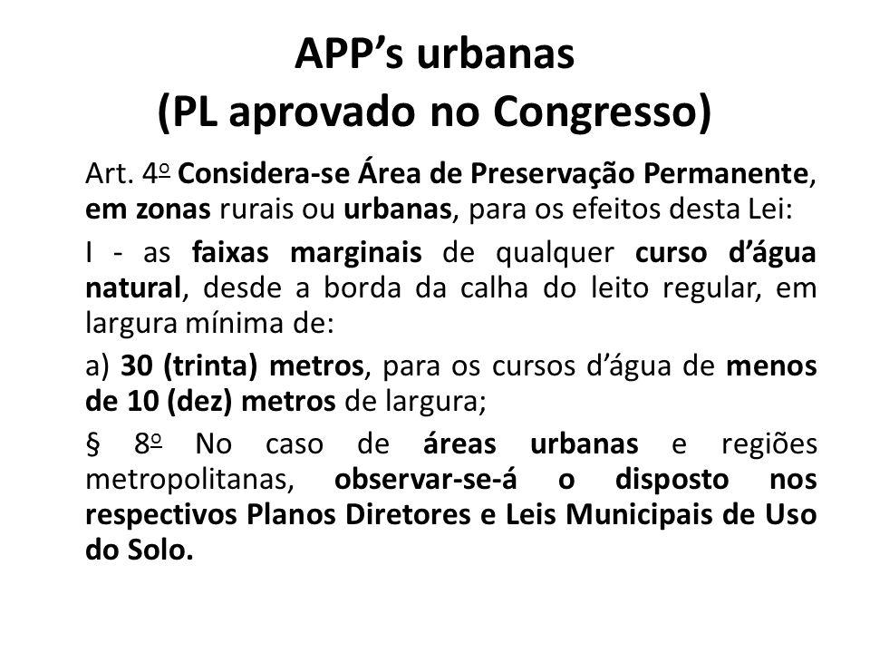 APP's urbanas (PL aprovado no Congresso)