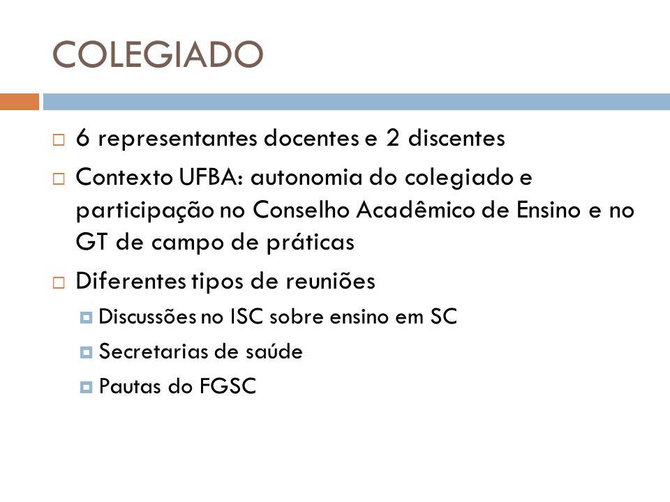COLEGIADO 6 representantes docentes e 2 discentes
