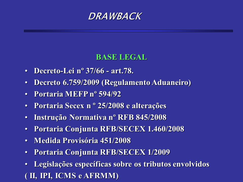 DRAWBACK BASE LEGAL Decreto-Lei nº 37/66 - art.78.