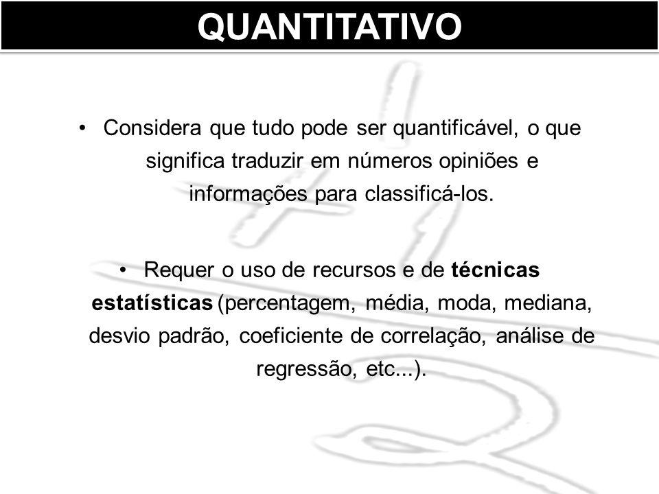 QUANTITATIVO Considera que tudo pode ser quantificável, o que significa traduzir em números opiniões e informações para classificá-los.