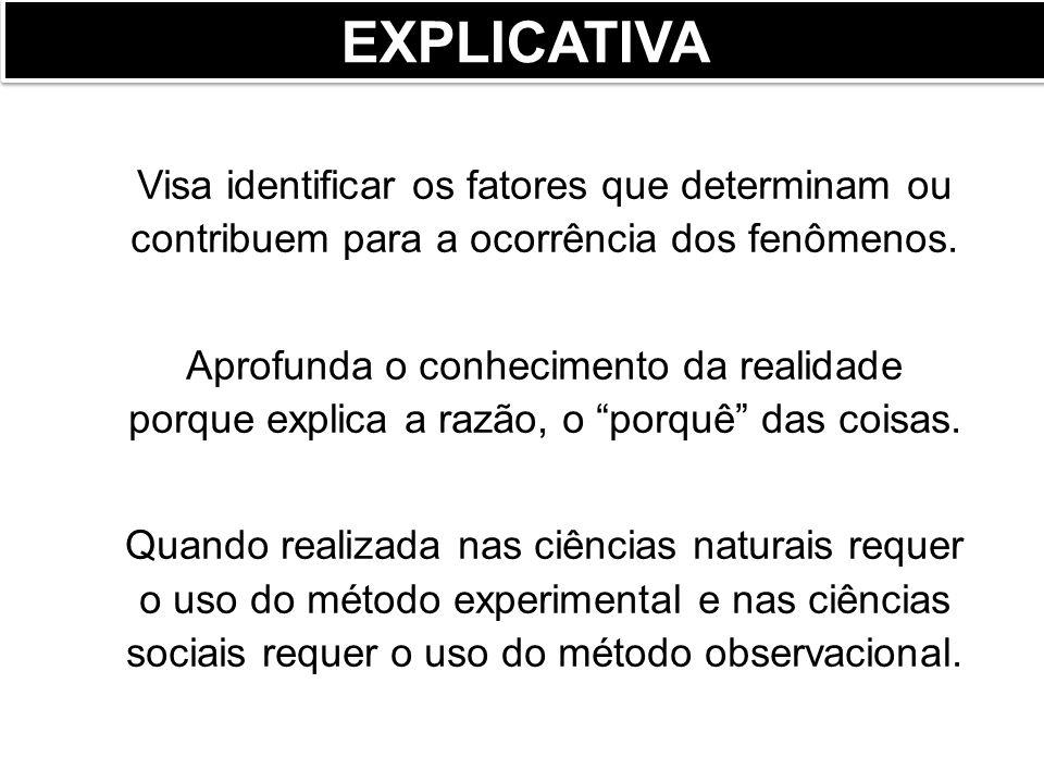 EXPLICATIVA Visa identificar os fatores que determinam ou contribuem para a ocorrência dos fenômenos.