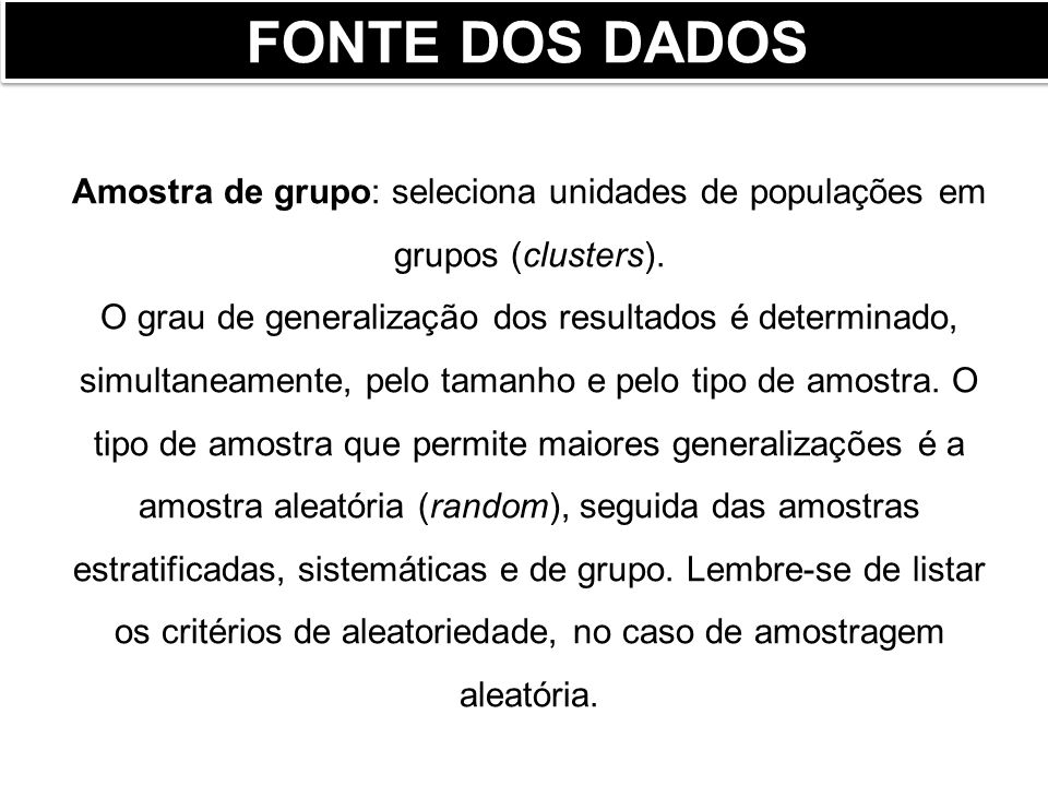 FONTE DOS DADOS Amostra de grupo: seleciona unidades de populações em grupos (clusters).