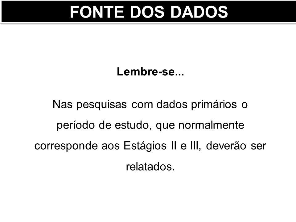 FONTE DOS DADOS Lembre-se...