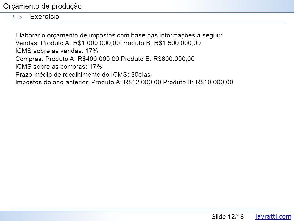 Exercício Elaborar o orçamento de impostos com base nas informações a seguir: Vendas: Produto A: R$1.000.000,00 Produto B: R$1.500.000,00.