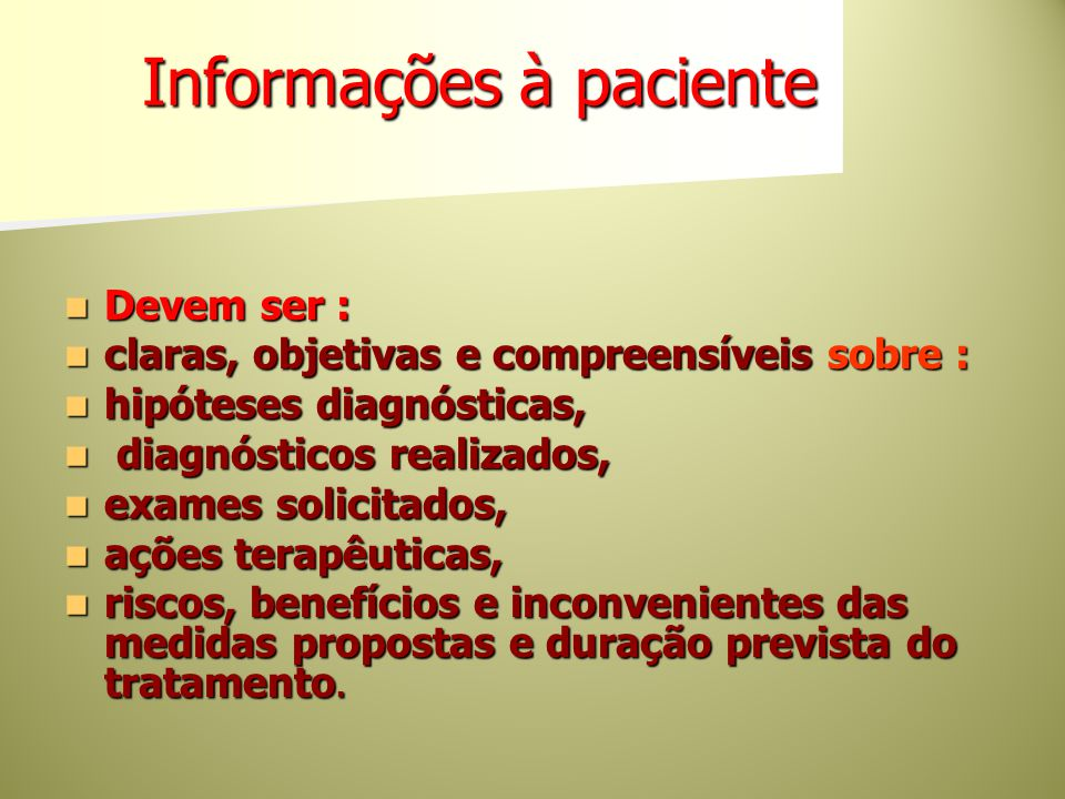 Informações à paciente