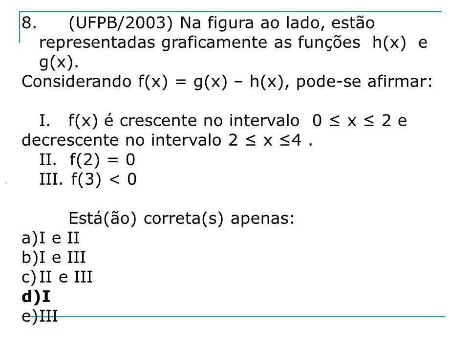 Considerando f(x) = g(x) – h(x), pode-se afirmar: