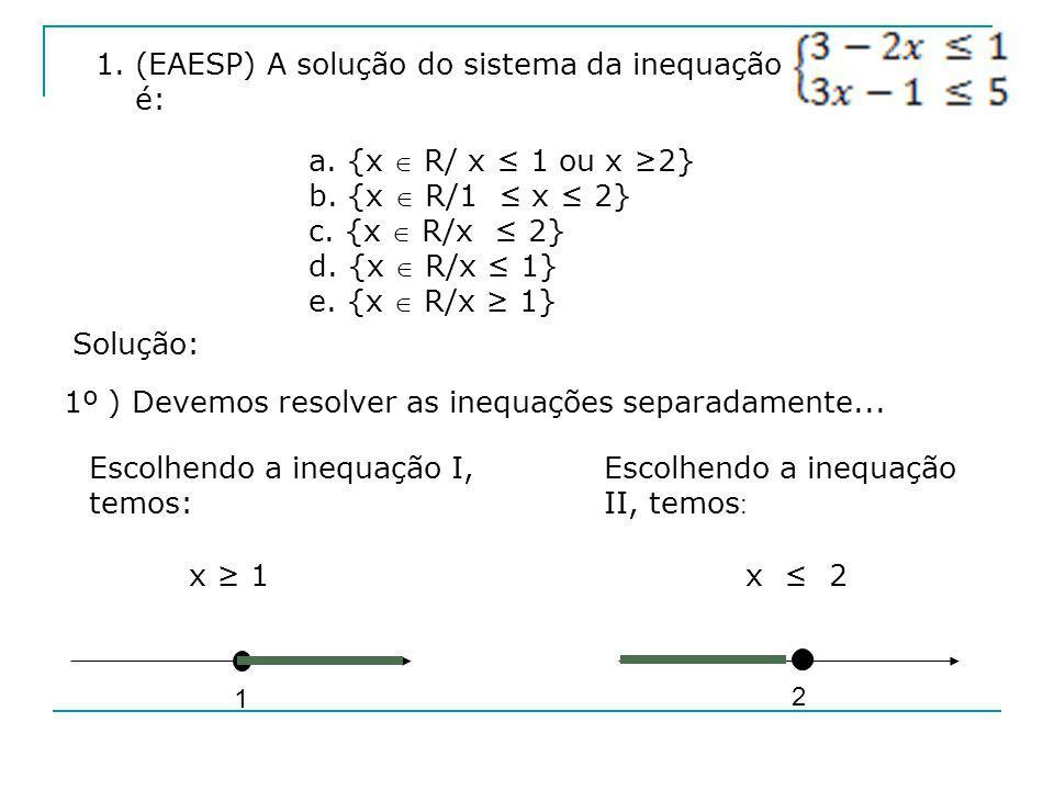 1. (EAESP) A solução do sistema da inequação é: