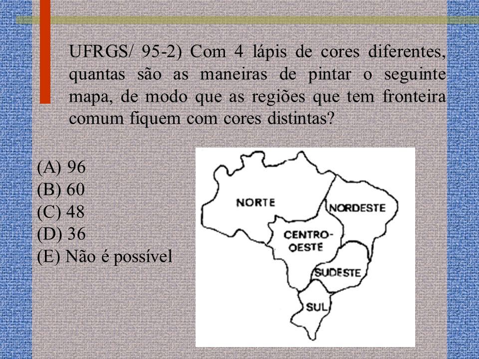 UFRGS/ 95-2) Com 4 lápis de cores diferentes, quantas são as maneiras de pintar o seguinte mapa, de modo que as regiões que tem fronteira comum fiquem com cores distintas